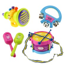 Drum Set Children Toys 5pcs Roll Toy Baby Girls Drum Set Colorfull Kids Musical Instruments For Children Band Kit(China)