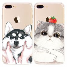 Fashion Soft TPU Phone Cases For iphone 6 Case Lovely Cartoon Animal Dog Cat Huskies Pattern Cover For iphone 6S 7 7 PLus Coque