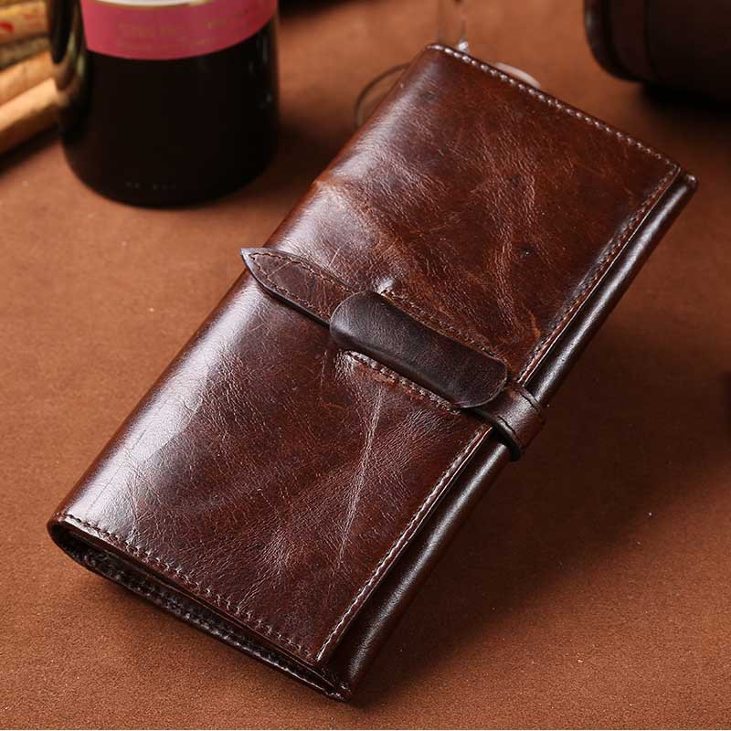 SUB 8 100% first layer long wallet men Leisure Business vintage Oil Wax genuine leather wallets pocket many card slot purse<br>