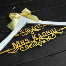 personalized Wedding Hanger with Date Bridal Bride Hanger  Custom dress hanger(China)