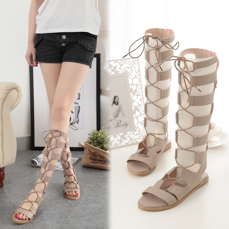 Female Sandals Summer Roman Zippers Sexy Toe Long Tube Female Sandals Flat With Straps Hollow High Tube Flat Womens Cool Boots<br>