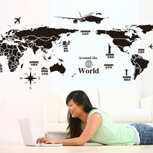Foreign Trade Removable Wall Stickers Creative World Tour World Map Factory Outlets