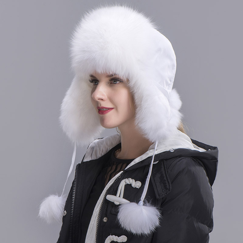fox fur hat woman white 3
