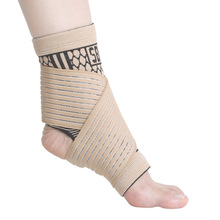 1pc Light Brown Black Ankle Pads Foot Wrap Brace Elastic Ankle Support Bandages Sports Support Foot Straps Pain Relieve Unisex