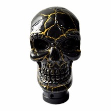 Black Gold Skull Cool  Design Head Gear Shift Knob Universal Car Truck Shifter Knob Manual/Automatic Gear Shift Knob #S-K05