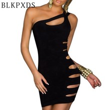 Hot sale Summer Women' s Women Sexy Tube Cut Out Black dress Mini Night Club Nightclub Clubwear Dress 5 8886(China)