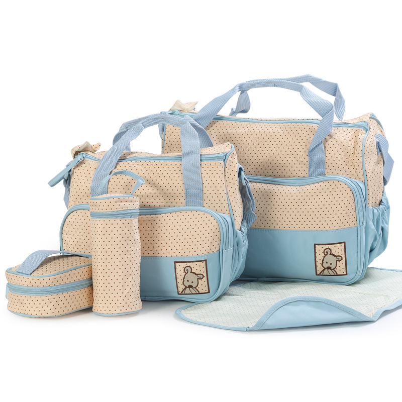 Easy to Carry 5pcs Baby Diaper Bag Suits For Mummy Bag Baby Bottle Holder Stroller Maternity Nappy Bags Sets (2)