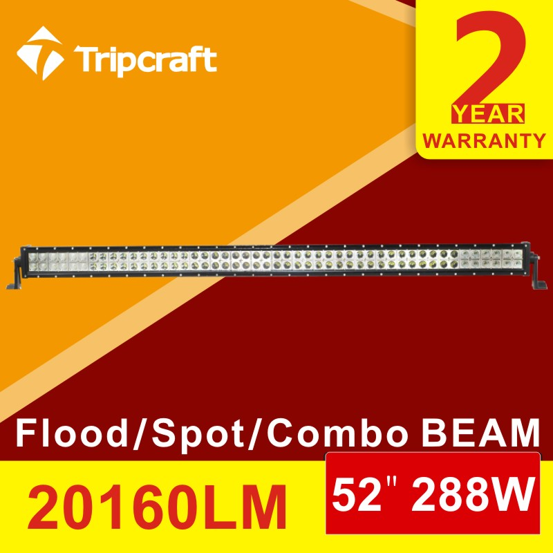 Super Bright 288W 52inch LED Light Bar Beam Combo Led Work Driving Light 12V 24V Truck SUV ATV UTV 4D 4X4 Led Bar Offroad