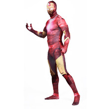 Movie Iron Man 3 tony stark character Cosplay Costume Tony Stark Avengers Lycra Adult Spandex  Zentai Suits Zip ironman costume