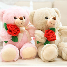 35CM Kawaii Teddy Bear Plush Toy Stuffed Animals Fluffy Bear Dolls With Rose 5Color Soft Kids Toys For Children Girlfriend Gifts(China)