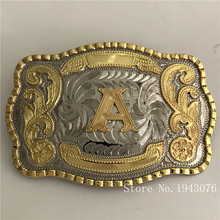 Retail Latest Styles High Quality Cool 3D Lace Gold A Initial Letter Men Belt Buckle With 138*95mm 128g Metal Belt Head Jewelry(China)