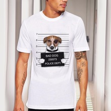 2017 Summer Funny Bad Dog Print T shirts Cotton Modal Women Men White Tee Gifts for Him Her Regular Slim Fit for ladies
