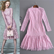 beautiful designer dress new arrival 2017 luxury italian brand spring long sleeve lace trumpet dresses pink mid-calf free ship