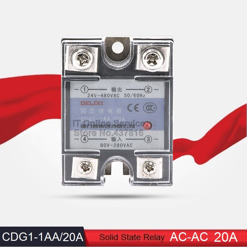 High Quality AC-AC 20A Solid State Relay Single Phase SSR  Input 80-280VAC Output 24-480VAC (CDG1-1AA/20A)<br><br>Aliexpress