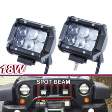 "Pair 18W 4"" Led SPOT Driving Light bar 4D Fish Eye Projector Lens UTE ATV SUV Truck(China)"