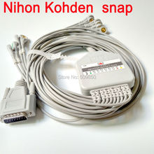 Eletrocardiograma Nihon Kohden 9130K 9110 EKG cable 10 lead ecg cable 15 pin connector snap leads on terminal