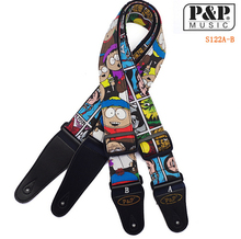 Cartoon Guitar Strap Printed Spiderman South Park PU Leather Ends Adjustable Cotoon Electric Guitar Acoustic Guitar Bass Strap