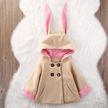 Easter Costume for Girl Children Warm Long Ear Bunny Coats Jackets Baby Girl Clothes Cotton Cartoon Rabbit Kids Hooded Outerwear