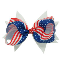 New American Flag Girls Hair Accessories Hair Bow With Clips Hairpins Polyester Be Proud&Show off Your Patriotism Wholesale