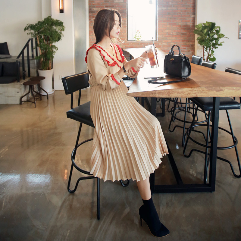 Pregnant women fashion lace V neck long sleeve Pleated Chiffon Dress slim stylish Maternity Nursing Dress<br><br>Aliexpress