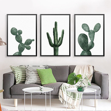 green plant canvas painting fashion modern picture cactus wall art print poster painting FG0099