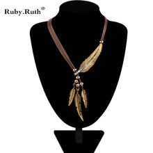 Necklace Alloy Feather Statement Necklaces Pendants Vintage Rope Chain Necklace Women Accessories wholesale Jewelry(China)