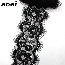 Buy 11cm 3yards French Eyelash Lace Trims Embroidery Black Lace Fabric DIY Garments Sewing Accessories Handmade Patchwork Crafts for $1.42 in AliExpress store