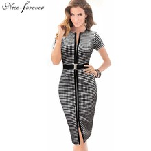 Vintage 2015  Formal Summer Women Short Sleeve Tunic Bodycon Office Lady Pencil Business Wear to Work Evening party Dress B50