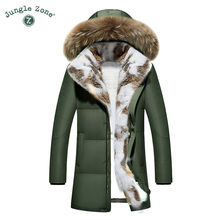 Plus Size Thick Winter Men Down Jacket With natural Fur Collar Men's Duck Down Jackets XXL XXXL Thicken Warm Coats Over Coat(China)