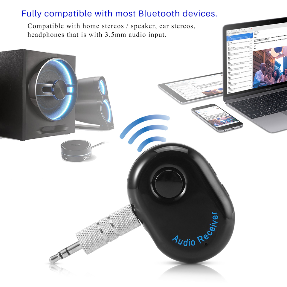 Mini 3.5mm Bluetooth Receiver Music Audio Receiver Adapter Rechargeable Hands-free Car Kit AUX A2DP Streaming Kit for Speaker