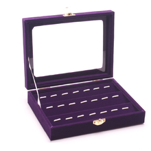 Free Shipping Delicate Purple Wood Jewelry Display Case All Jewelry Collection Showcase Functional Tray Glass Lid Holder Box(China)