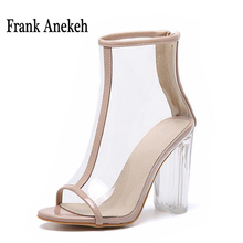 Women Clear Transparent Heels Sandals 2017 PVC Boots Peep Toe Ankle High Heel Perspex Summer Female Shoes Block Zip Pumps 942-9#