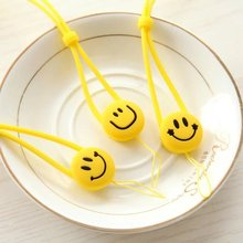Korea Yellow Smile Face Universal Mobile Phone Neck Strap Landyard Strap for Iphone Soft Silicone Key Chain Hang Rope 2pcs/lot