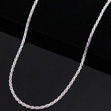 "Lostpiece New Women Men's 925 Sterling Silver Necklace 16""-24"" 3mm Twisted Chain Wholesale Fashion 925 Silver Jewellery LSPC014"