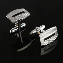 ZOSHI Brand Hot Sale High Quality Laser Cufflinks Men French Excellent Cuff links Wholesale grid Cufflings silver plated cuffs