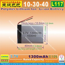 4pcs [L117] 3.7V,1300mAH,[103040] Polymer lithium ion / Li-ion battery for MP3,MP4;cell phone,speaker;power bank,DVD,GPS,VR,DVR