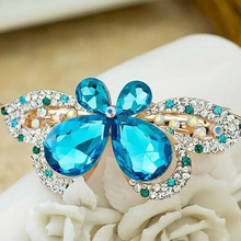1 PCS Elegant Women Vintage Crystal Diamond Butterfly Flower Hairpins Hair Clip Barrette Hair Band Accessories