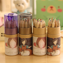 12 Pcs / pack , Hot Sale Lovely Cartoon Colored Artist Painting Wooden Pencils Drawing Pens For Girl(China)