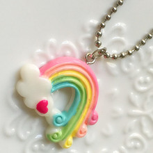 Cute Cloud with Rainbow Charm for Necklace Pendant, Moon Fairy Tale Oil Drop Charms, DIY Jewelry Wholesale  N1051