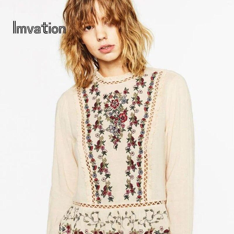 Imvation blusas femininas 2017 Elegant Cotton Line...