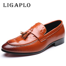 Brand Big Sizes Leather Fashion Men Shoes Handmade Casual Dress Flat Oxford Shoes Brand High Quality Men Flats Shoes 38-48(China)