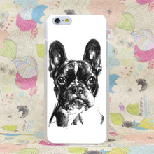 630HJ Lovely French Bulldog Sketch Hard Transparent Case Cover for iPhone 4 4s 5 5s SE 5C 6 6s Plus 7 7 Plus