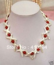 "free shipping $wholesale_jewelry_wig$  Charming jewelry white cross pearl red coral necklace  18"" inch"