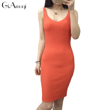 2017 spring summer Korean version long section mash Fashion Women knit Casual Plus Size Slim V-neck bottoming vest jersey dress(China)