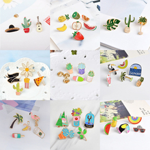 Miss Zoe 3~7pcs/set Cartoon Potted Plants Cactus Flamingo Fruit Rainbow Brooch Button Pins Denim Jacket Pin Badge Jewelry Gift