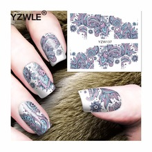 YZWLE 1 Sheet DIY Decals Nails Art Water Transfer Printing Stickers Accessories For Manicure Salon (YZW-137)(China)