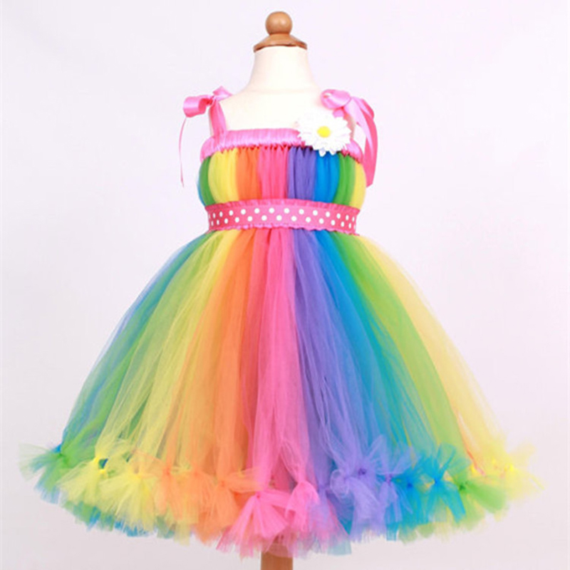 Kids Girl Princess Tutu Dress Rainbow Puffy Carnival Baptism Inspired Children Dress for Birthday Party Wedding Xmas with Knot<br>