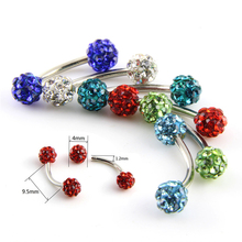 1 Pc Surgical Steel Curved Barbell AA Crystal Eyebrow Ring Ear Anti Tragus Helix Rook Bridge Web Piercing Lip Stud Body Jewelry(China)