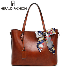 HERALD FASHION Woman Shoulder Bags With Scarf Luxury Handbags Women Bags Designer High Quality PU Leather Totes Handbag(China)