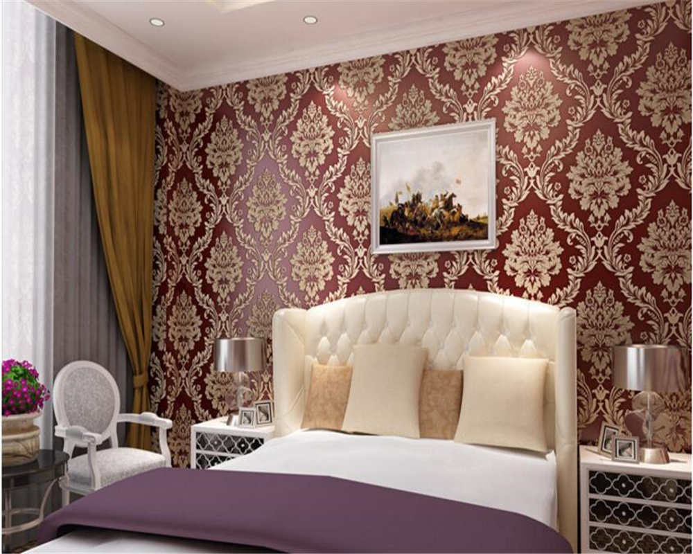 beibehang European Style 3D Relief Nonwovens 3d Wallpaper Study Backdrop Damascus Retro Wallpaper papel de parede 3d wall paper <br>